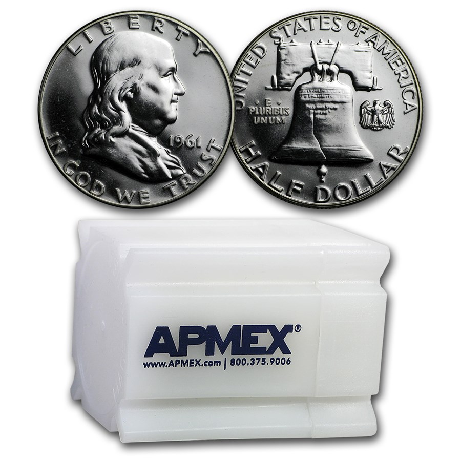 1961 Proof Franklin Half Dollar 20-Coin Roll