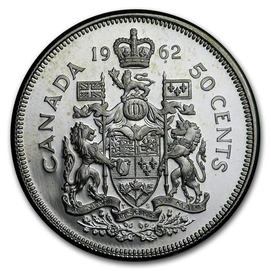 1962 Canada Silver 50 Cents Elizabeth II BU/Prooflike