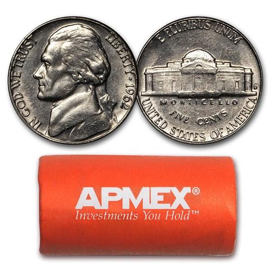 1962-D Jefferson Nickel 40-Coin Roll BU