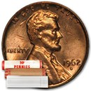 1962-D Lincoln Cent 50-Coin Roll BU