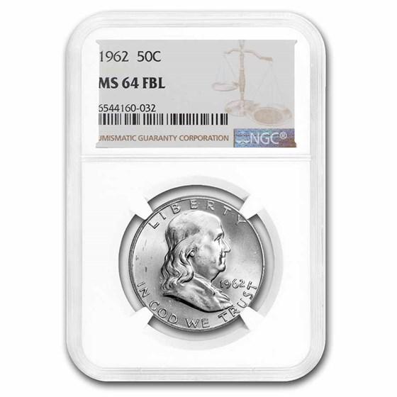 1962 Franklin Half Dollar MS-64 NGC (FBL)