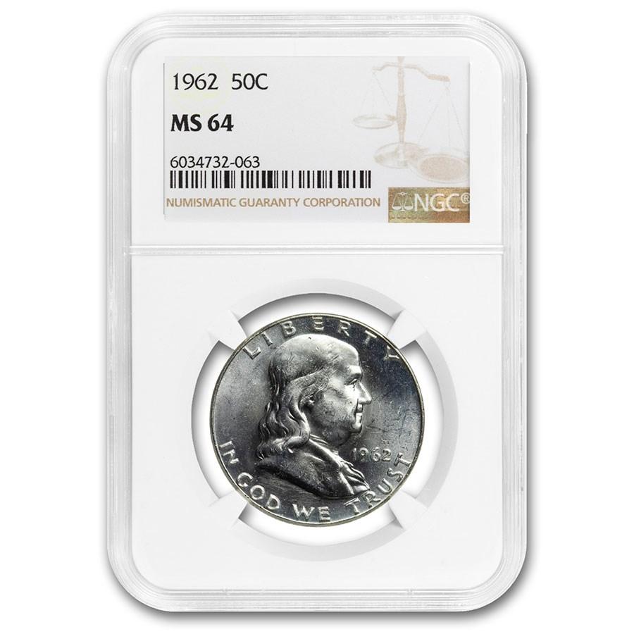 1962 Franklin Half Dollar MS-64 NGC