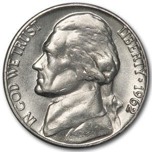 1962 Jefferson Nickel BU