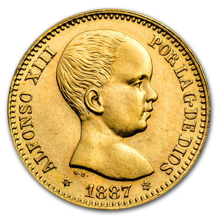 1962 Spain Gold 20 Pesetas Alfonso XIII BU (Restrike of 1887)