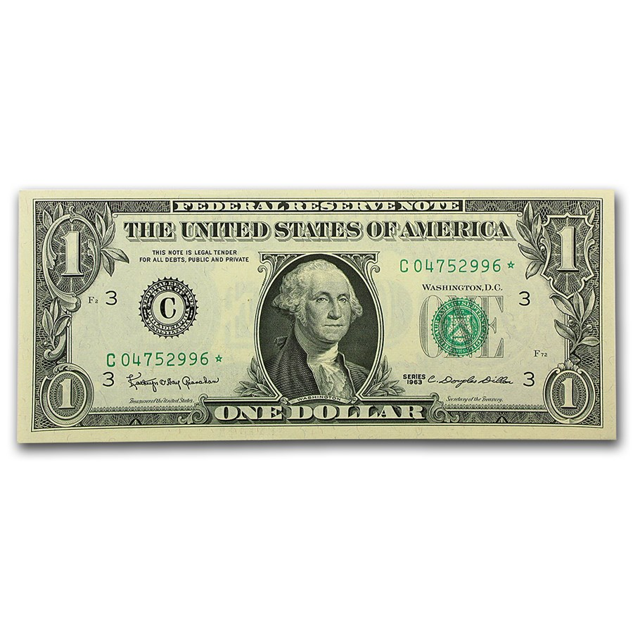 1963* $1.00 FRN CU (Star Notes, Districts of our choice)