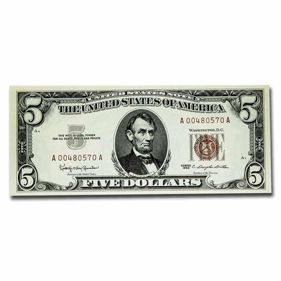 1963 $5.00 U.S. Note Red Seal CCU (Fr#1536)