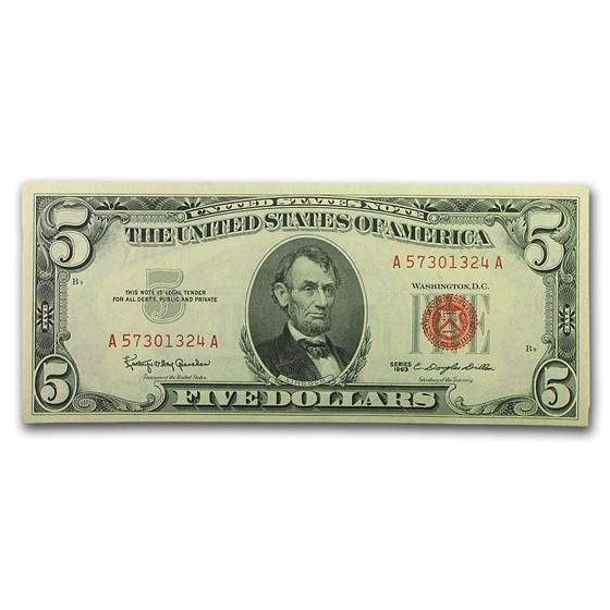 1963 $5.00 U.S. Note Red Seal CU (Fr#1536)