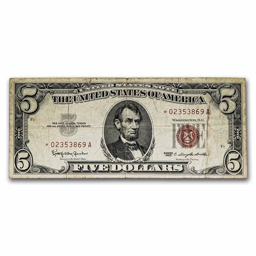 1963* $5.00 U.S. Note Red Seal Cull (Fr#1536*) Star Note