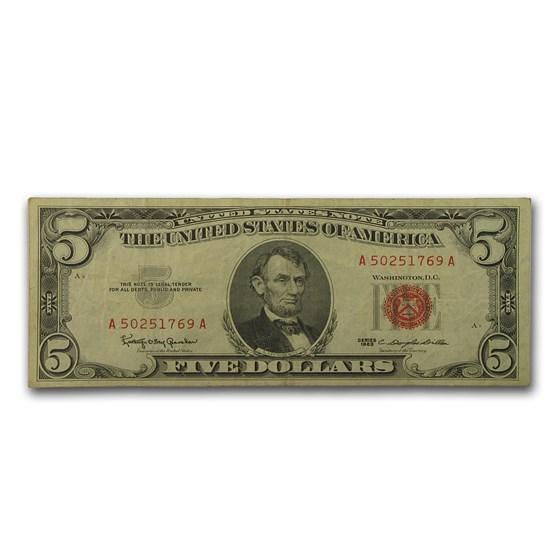 1963 $5.00 U.S. Note Red Seal VG/VF (Fr#1536)