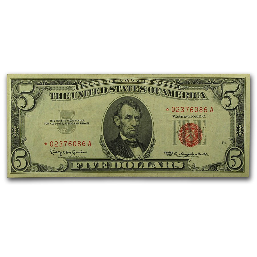 1963* $5.00 U.S. Note Red Seal XF (Fr#1536*) Star Note