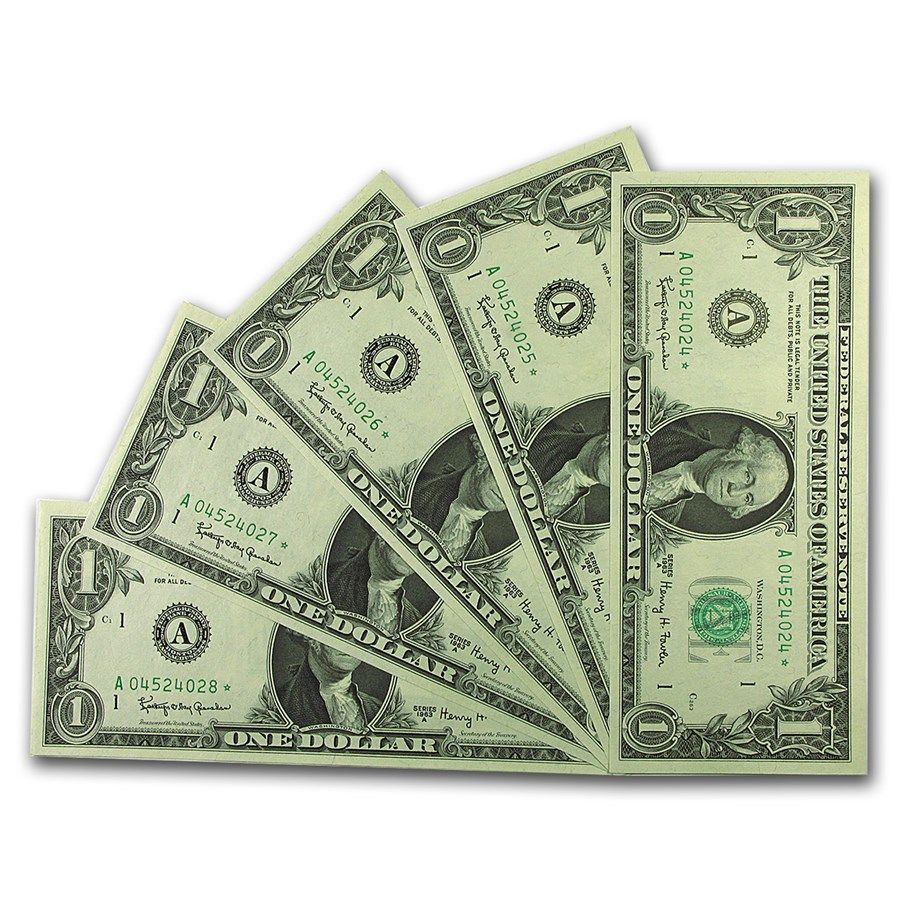 1963-A* (A-Boston) $1.00 FRN CU (Star, 5 Consec S/N)