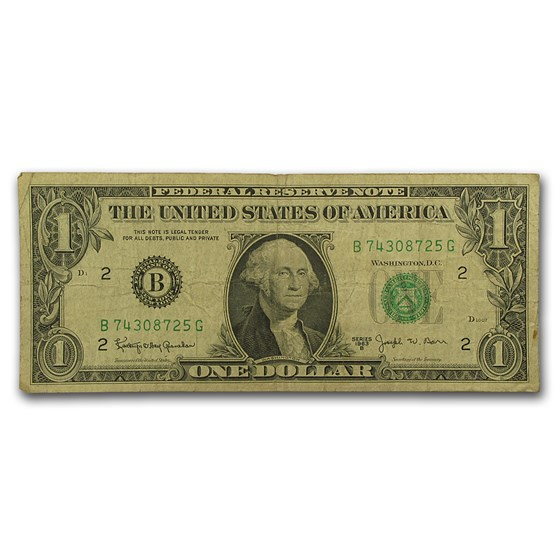 1963-B $1.00 FRN's Barr Notes Avg Circ (Fr#1902)