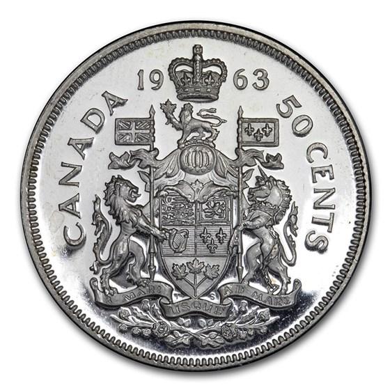 1963 Canada Silver 50 Cents Elizabeth II BU/Prooflike