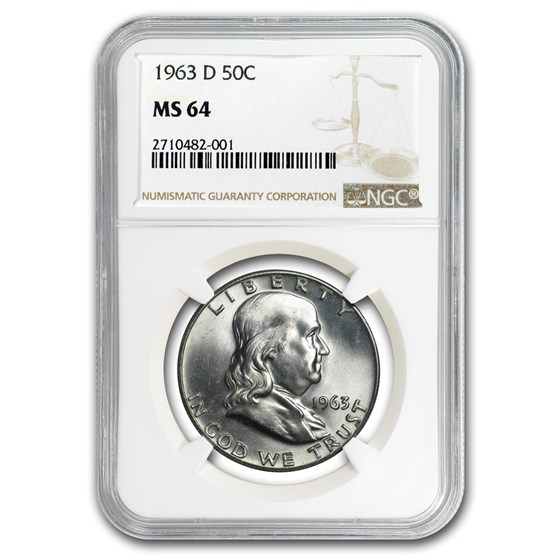 1963-D Franklin Half Dollar MS-64 NGC