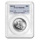 1963-D Franklin Half Dollar MS-65 PCGS (FBL)