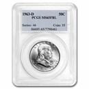1963-D Franklin Half Dollar MS-65 PCGS (FBL)