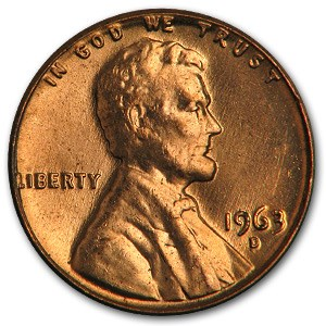 1963-D Lincoln Cent BU (Red)