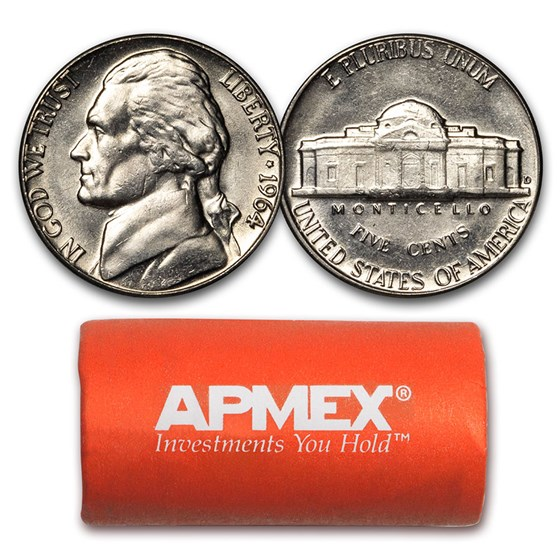 1964-D Jefferson Nickel 40-Coin Roll BU