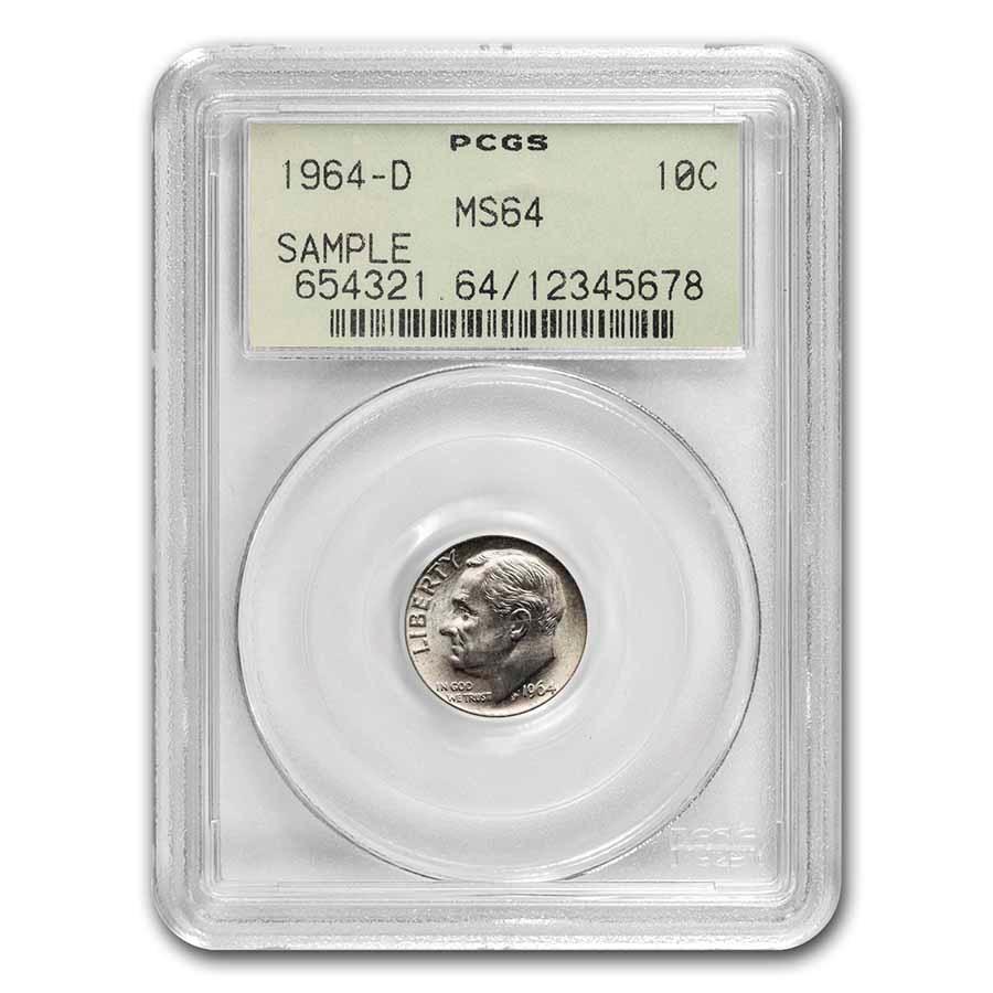 1964-D Roosevelt Dime MS-64 PCGS (Rare Sample Slab)