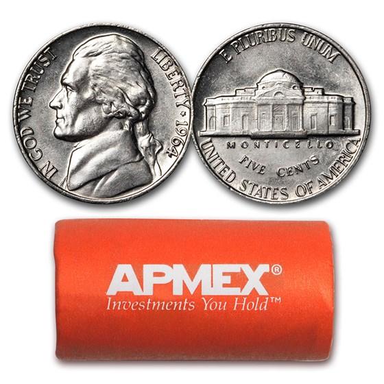 1964 Jefferson Nickel 40-Coin Roll BU