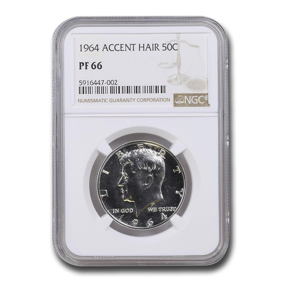 1964 Kennedy Half Dollar PF-66 NGC (Accented Hair)