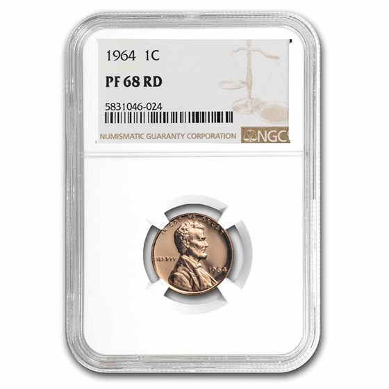 1964 Lincoln Cent PF-68 NGC (Red)