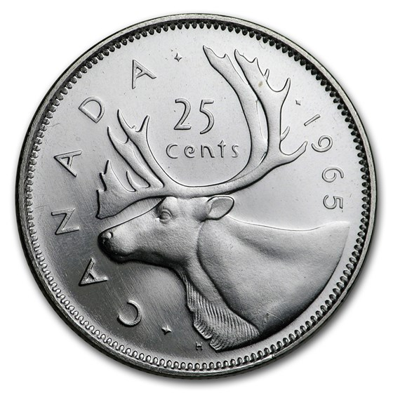 1965 Canada Silver 25 Cents BU/Prooflike