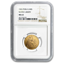 1965 Peru Gold 100 Soles Liberty MS-63 NGC