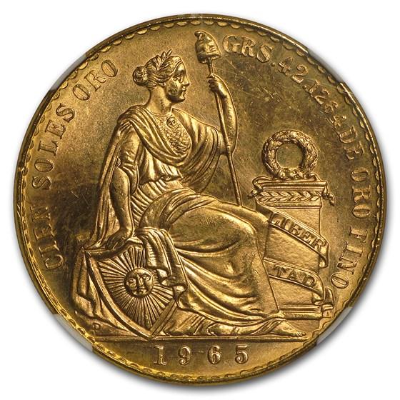 1965 Peru Gold 100 Soles Liberty MS-65 NGC