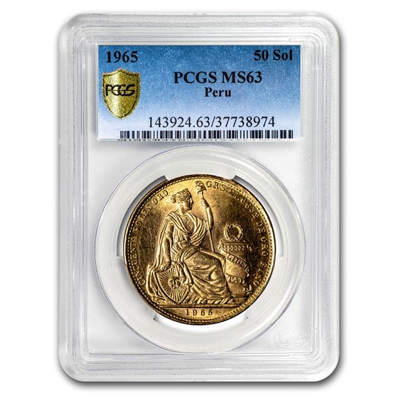 1965 Peru Gold 50 Soles Liberty MS-63 PCGS
