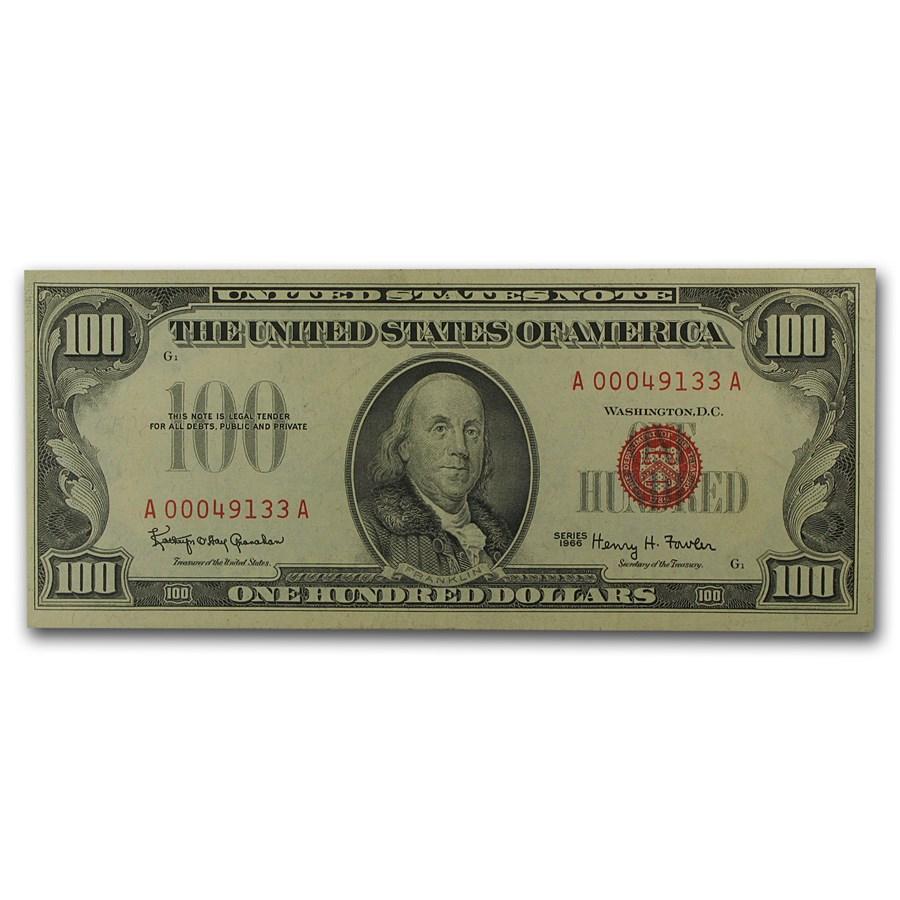 1966 $100 U.S. Note Red Seal AU