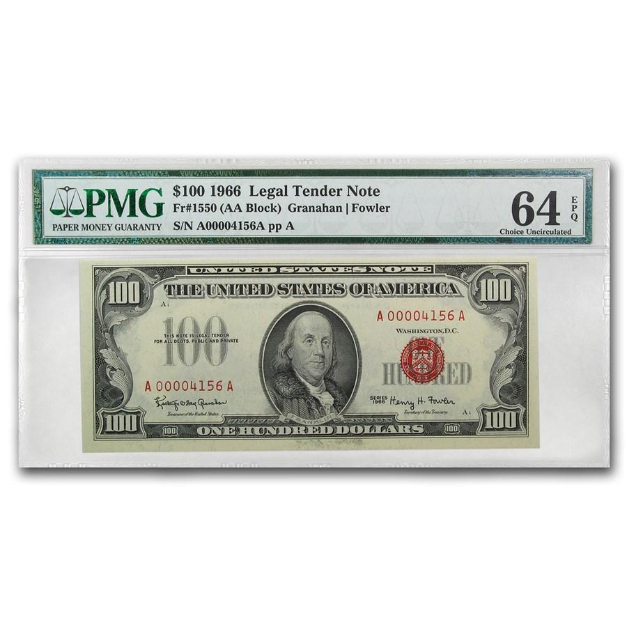 1966 $100 U.S. Note Red Seal CU-64 EPQ PMG