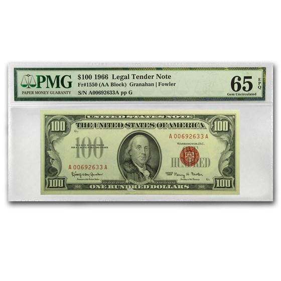 1966 $100 U.S. Note Red Seal CU-65 EPQ PMG
