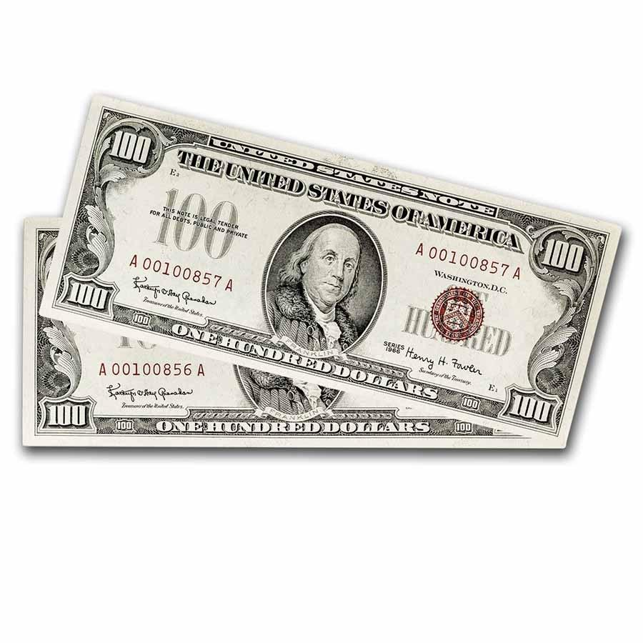 1966 $100 U.S. Note Red Seal CU (Fr#1550) 2 Consecutive
