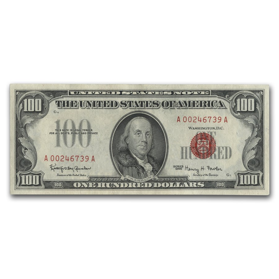 1966 $100 U.S. Note Red Seal CU (Fr#1550)