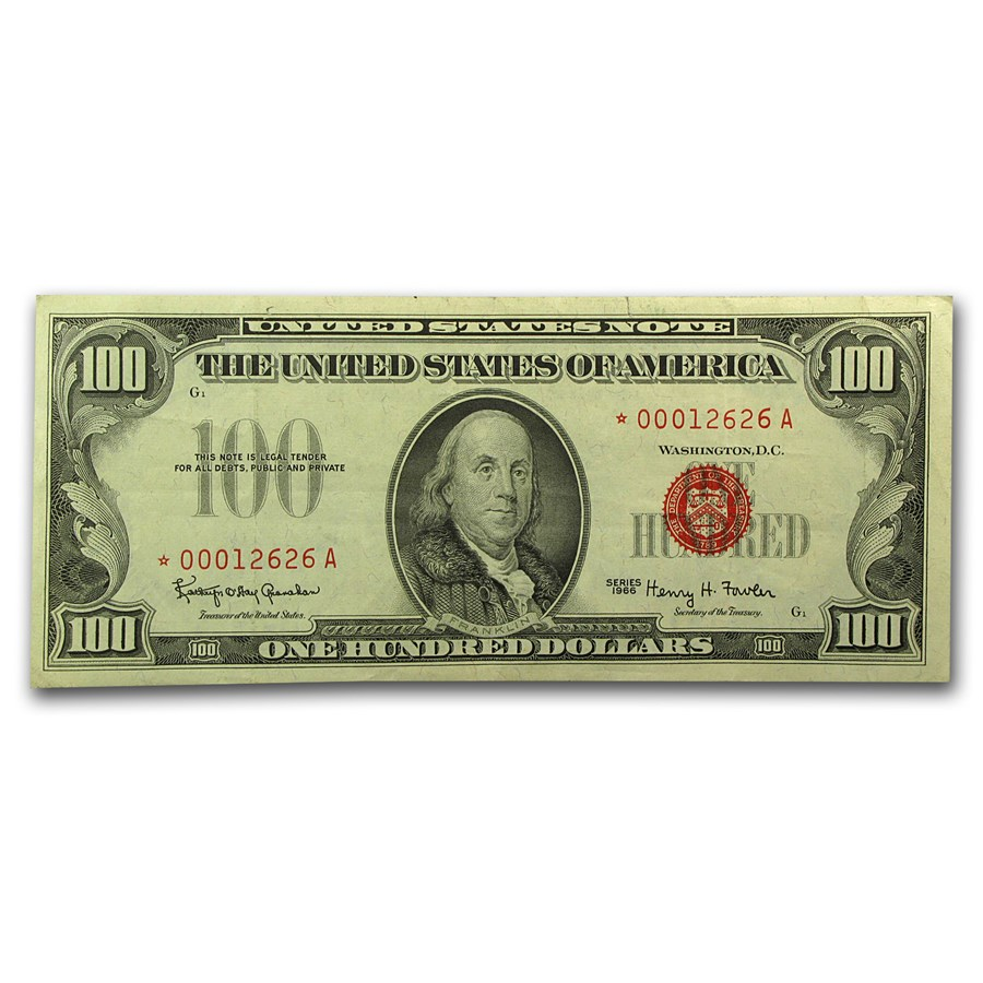 1966* $100 U.S. Note Red Seal VF