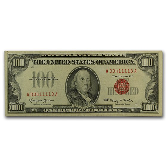 1966 $100 U.S. Note Red Seal XF