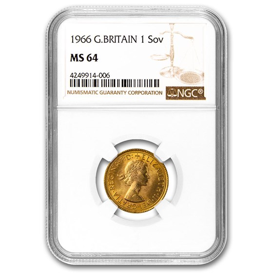 1966 Great Britain Gold Sovereign Elizabeth II MS-64 NGC
