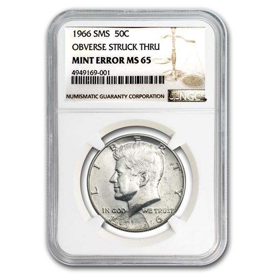 1966 Kennedy Half Dollar SMS MS-65 NGC (Obv Struck Thru Error)