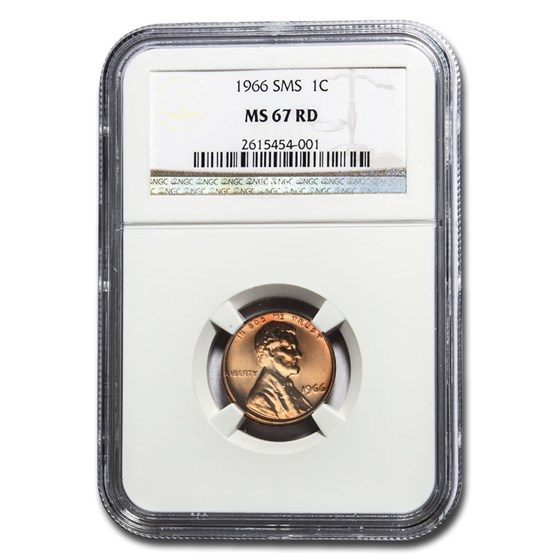 1966 Lincoln Cent SMS MS-67 NGC (Red)