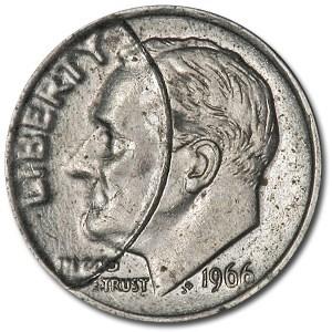 1966 Roosevelt Dime AU (Indent Error)