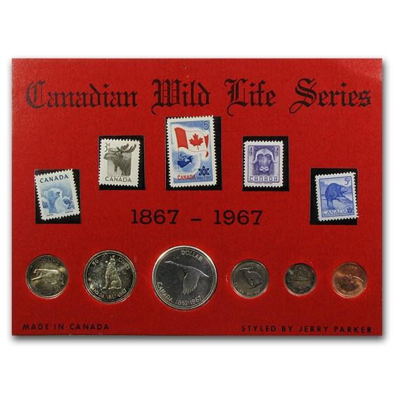 1967 Canada 11-Piece Wildlife Coin & Stamp Set