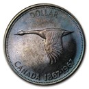 1967 Canada Silver Dollar Flying Goose Prooflike (Toned)