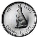 1967 Canada Silver Half Dollar Howling Wolf BU/Prooflike