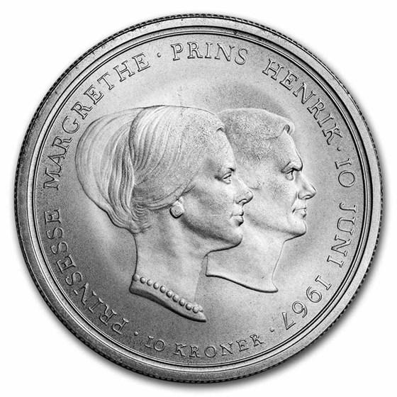 1967 Denmark Silver 10 Kroner Royal Wedding BU