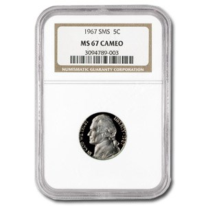 1967 Jefferson Nickel SMS MS-67 CAMEO NGC