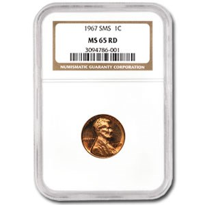 1967 Lincoln Cent SMS MS-65 NGC (Red)