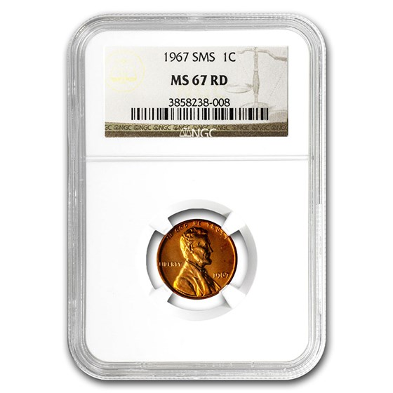 1967 Lincoln Cent SMS MS-67 NGC (Red)