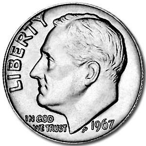 1967 Roosevelt Dime BU