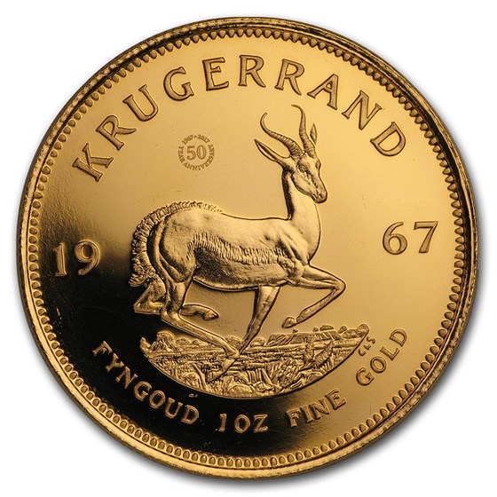 1967 South Africa Gold 50th Anniv Vintage Krugerrand (Abrasions)